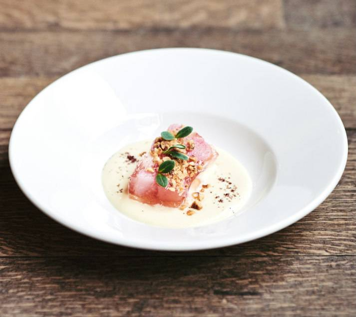 Rhubarb dish served by Chef James Knox Boothman at LASSCO, London, for private events